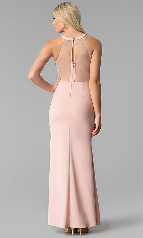 Image of long high-neck sheer-bodice prom dress with slit. Style: SOI-M17960 Back Image