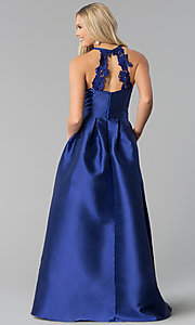 Image of navy blue long taffeta prom dress with pockets. Style: SOI-M17603 Back Image