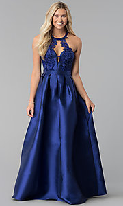 Image of navy blue long taffeta prom dress with pockets. Style: SOI-M17603 Detail Image 3