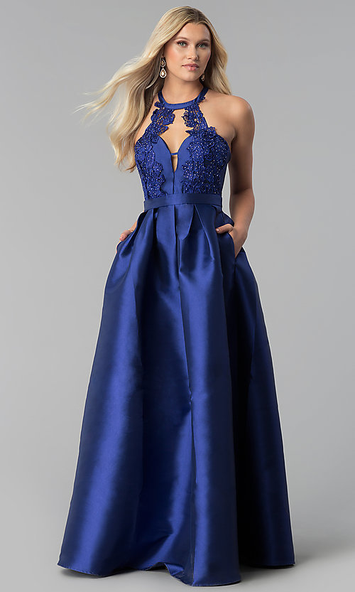 Image of navy blue long taffeta prom dress with pockets. Style: SOI-M17603 Front Image