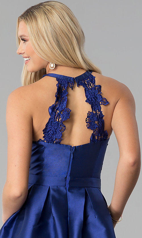 Image of navy blue long taffeta prom dress with pockets. Style: SOI-M17603 Detail Image 2