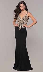Image of embroidered-applique-bodice long v-neck formal dress. Style: SOI-M17432 Detail Image 2