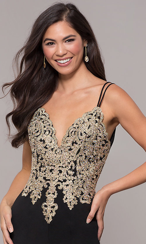 Image of embroidered-applique-bodice long v-neck formal dress. Style: SOI-M17432 Detail Image 4