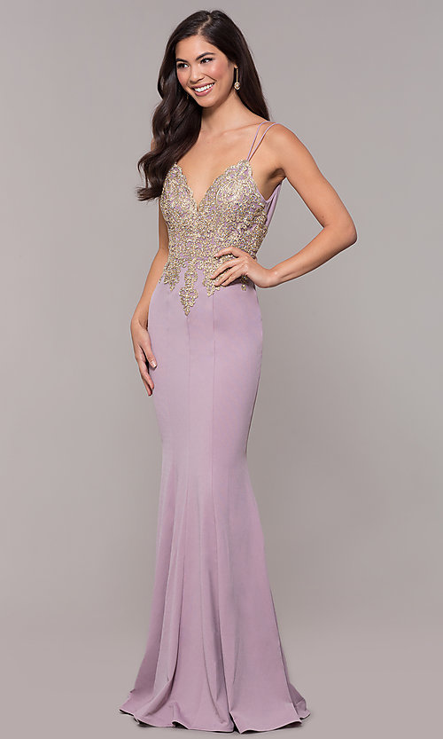 Image of embroidered-applique-bodice long v-neck formal dress. Style: SOI-M17432 Detail Image 5