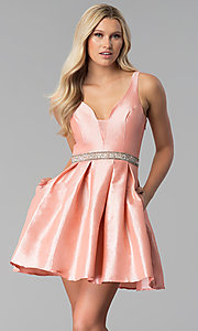 Image of embroidered-back short v-neck blush pink prom dress. Style: SOI-S17589 Front Image