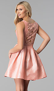 Image of embroidered-back short v-neck blush pink prom dress. Style: SOI-S17589 Back Image