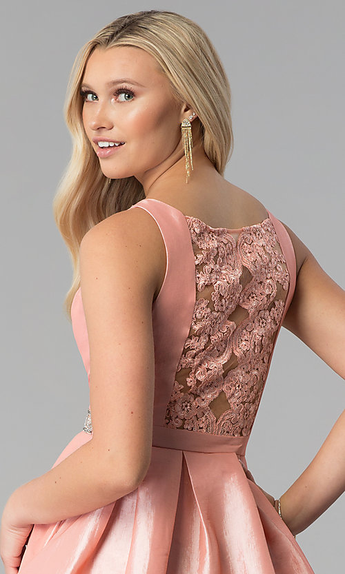 Image of embroidered-back short v-neck blush pink prom dress. Style: SOI-S17589 Detail Image 2
