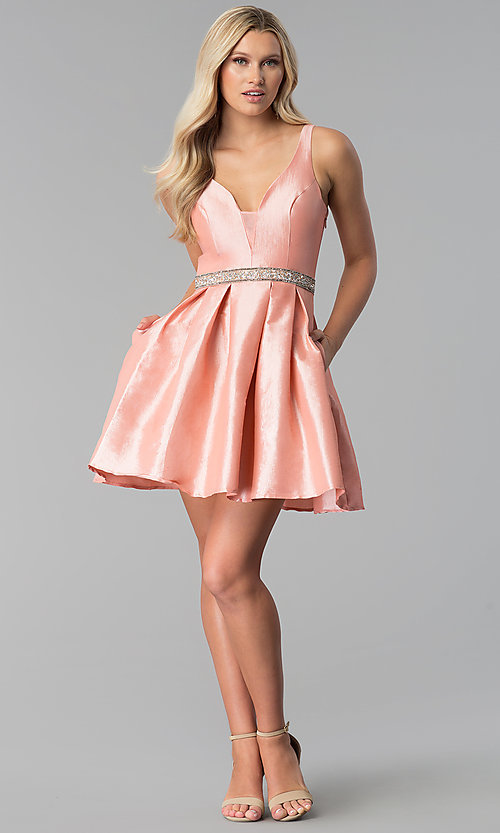 Image of embroidered-back short v-neck blush pink prom dress. Style: SOI-S17589 Detail Image 3