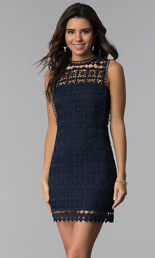 Crocheted-Lace Short Cocktail Party Dress