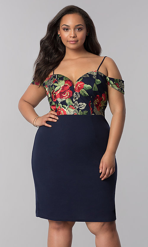 Image of embroidered off-shoulder navy plus-size party dress. Style: SOI-PS40032 Front Image