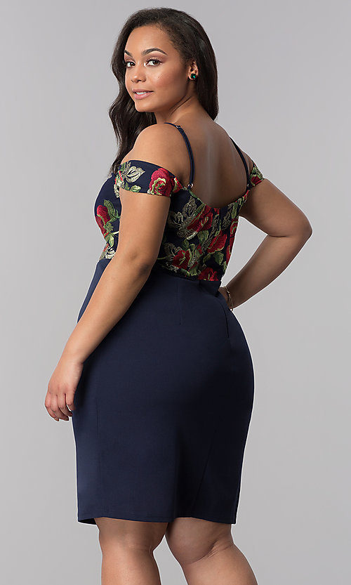 Image of embroidered off-shoulder navy plus-size party dress. Style: SOI-PS40032 Back Image