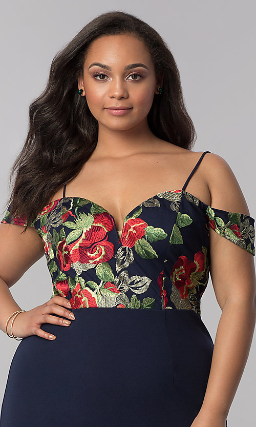 Image of embroidered off-shoulder navy plus-size party dress. Style: SOI-PS40032 Detail Image 1