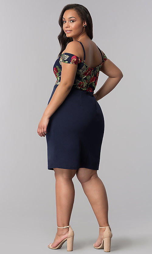 Image of embroidered off-shoulder navy plus-size party dress. Style: SOI-PS40032 Detail Image 3