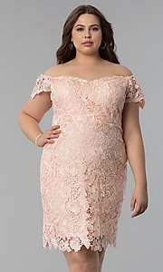 Image of off-shoulder plus-size wedding guest lace dress. Style: SOI-PS40005 Front Image