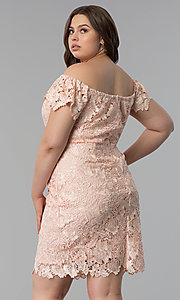 Image of off-shoulder plus-size wedding guest lace dress. Style: SOI-PS40005 Back Image