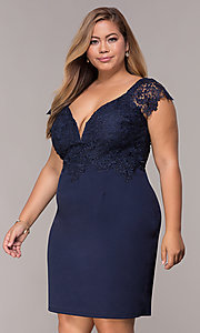 Image of plus-size navy cocktail party dress with lace. Style: SOI-PS40038 Front Image