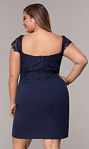 Image of plus-size navy cocktail party dress with lace. Style: SOI-PS40038 Back Image