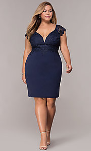 Image of plus-size navy cocktail party dress with lace. Style: SOI-PS40038 Detail Image 3