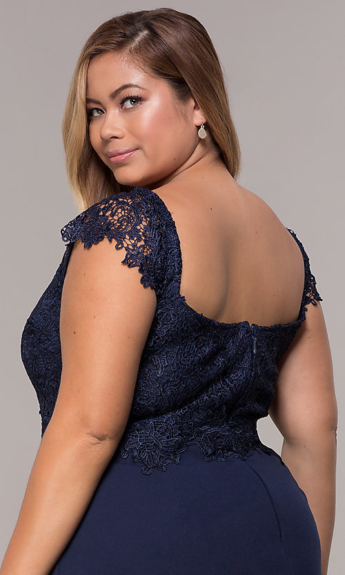 Image of plus-size navy cocktail party dress with lace. Style: SOI-PS40038 Detail Image 2