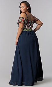 Image of off-the-shoulder plus prom dress with embroidery. Style: SOI-PM17846 Back Image