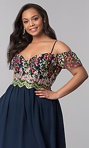 Image of off-the-shoulder plus prom dress with embroidery. Style: SOI-PM17846 Detail Image 1