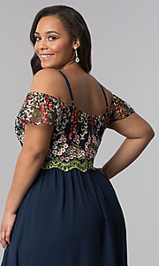Image of off-the-shoulder plus prom dress with embroidery. Style: SOI-PM17846 Detail Image 2