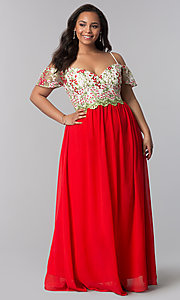 Image of off-the-shoulder plus prom dress with embroidery. Style: SOI-PM17846 Detail Image 3