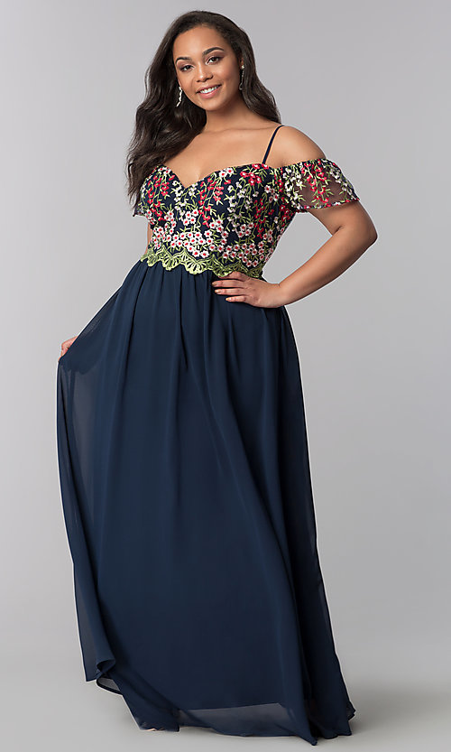 Image of off-the-shoulder plus prom dress with embroidery. Style: SOI-PM17846 Front Image