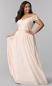 Image of plus cap-sleeved prom dress with embroidery. Style: SOI-PM17756 Front Image
