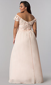 Image of plus cap-sleeved prom dress with embroidery. Style: SOI-PM17756 Back Image