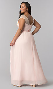 Image of long blush pink v-neck plus-size prom dress. Style: SOI-PM40014 Back Image
