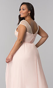 Image of long blush pink v-neck plus-size prom dress. Style: SOI-PM40014 Detail Image 2