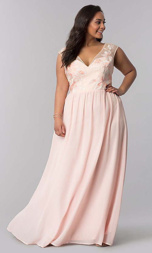 Image of long blush pink v-neck plus-size prom dress. Style: SOI-PM40014 Front Image