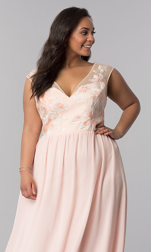 Image of long blush pink v-neck plus-size prom dress. Style: SOI-PM40014 Detail Image 1