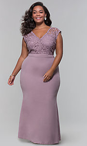 Image of jersey plus-size long prom dress with lace bodice. Style: SOI-PM40040 Front Image