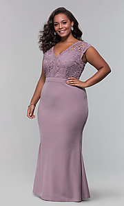 Image of jersey plus-size long prom dress with lace bodice. Style: SOI-PM40040 Detail Image 1