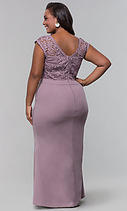 Image of jersey plus-size long prom dress with lace bodice. Style: SOI-PM40040 Back Image