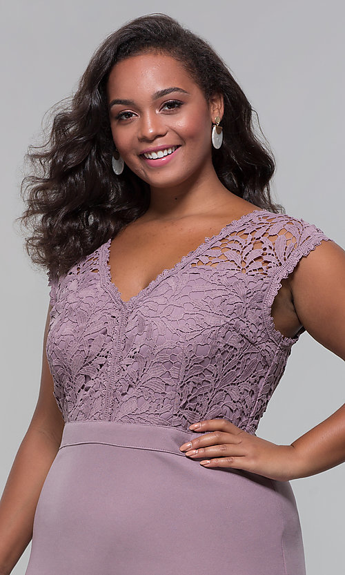 Image of jersey plus-size long prom dress with lace bodice. Style: SOI-PM40040 Detail Image 2