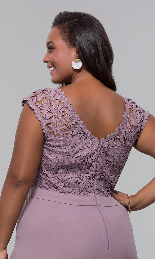 Image of jersey plus-size long prom dress with lace bodice. Style: SOI-PM40040 Detail Image 3
