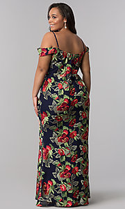 Image of long floral-embroidered plus formal evening dress. Style: SOI-PM17844 Back Image