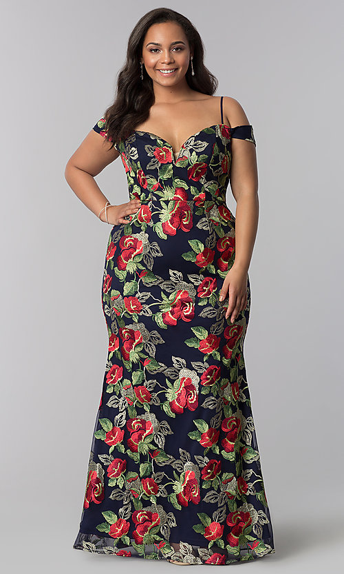 Long Navy Plus-Size Floral-Embroidered Evening Dress