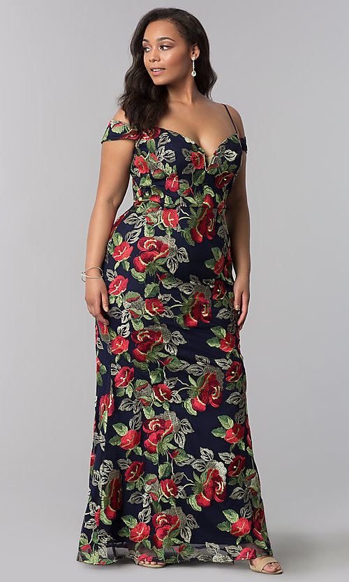 Image of long floral-embroidered plus formal evening dress. Style: SOI-PM17844 Detail Image 1