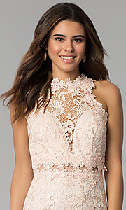 Image of high-neck short lace wedding-guest dress. Style: SOI-S17860 Detail Image 1