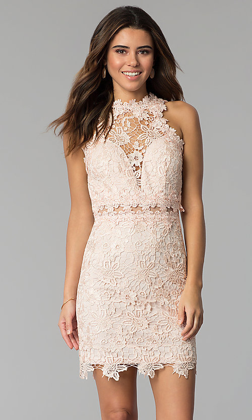 Image of high-neck short lace wedding-guest dress. Style: SOI-S17860 Back Image