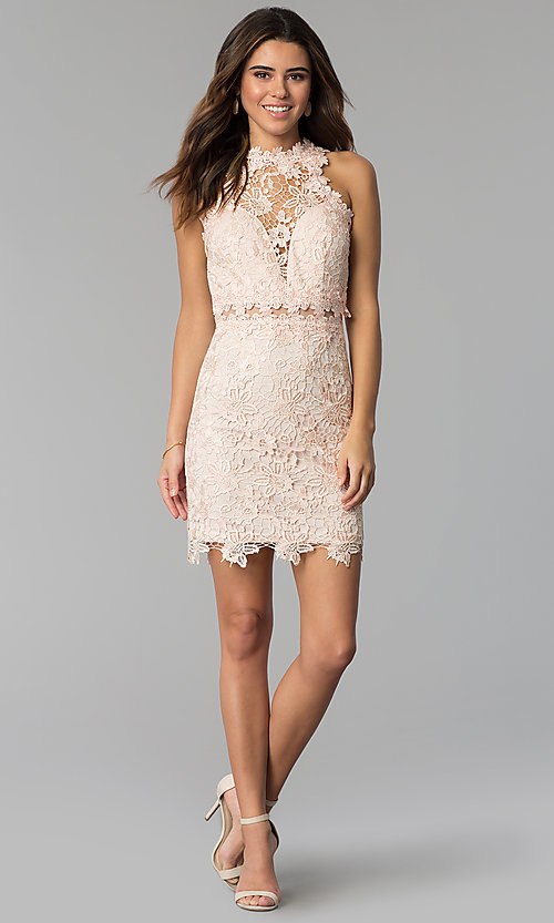 Image of high-neck short lace wedding-guest dress. Style: SOI-S17860 Detail Image 2
