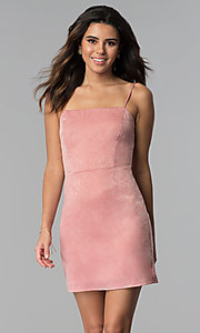 Image of sateen short pink wedding-guest party dress.  Style: STO-JD1098A Front Image