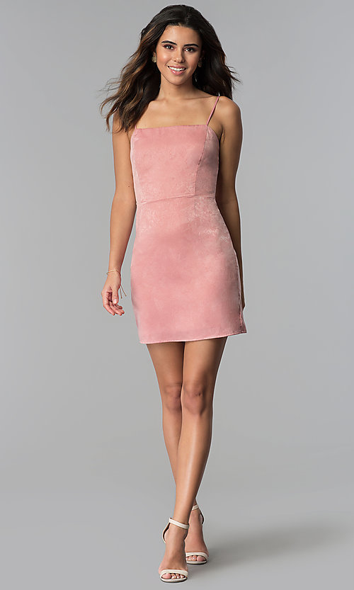 Image of sateen short pink wedding-guest party dress.  Style: STO-JD1098A Detail Image 3
