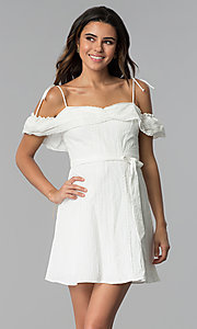 Image of off-shoulder ruffled cotton party dress in white. Style: STO-JD1374 Front Image