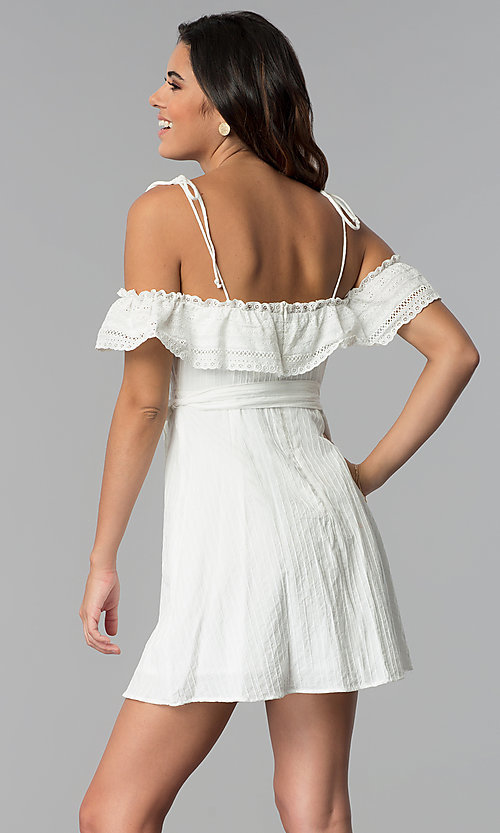 Image of off-shoulder ruffled cotton party dress in white. Style: STO-JD1374 Back Image