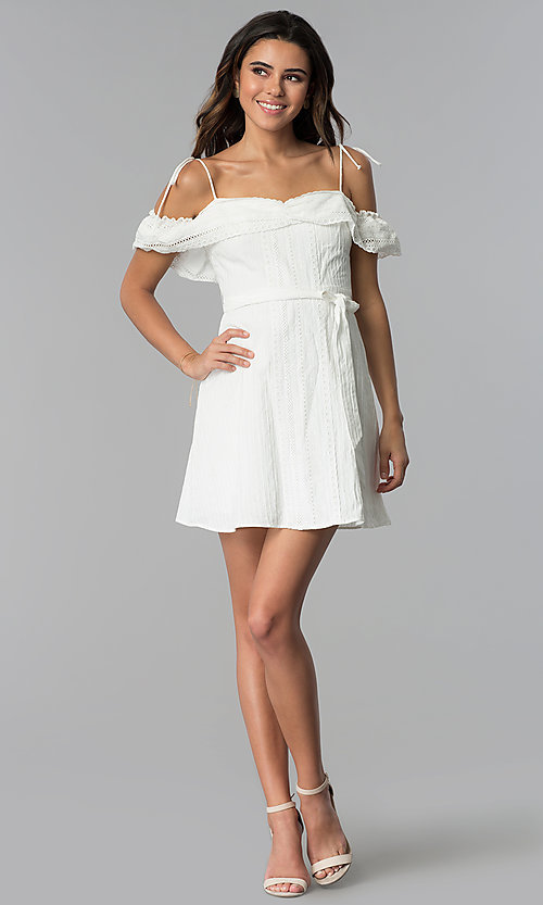 Image of off-shoulder ruffled cotton party dress in white. Style: STO-JD1374 Detail Image 3